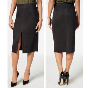 Faux Suede Straight Midi Skirt With Slit, In Black